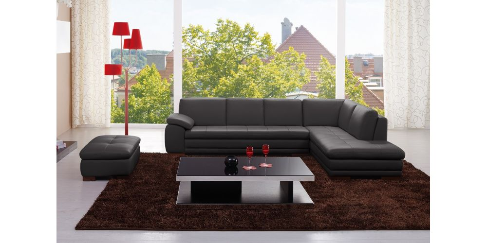 J&M Furniture 625 Italian Leather Sectional Grey