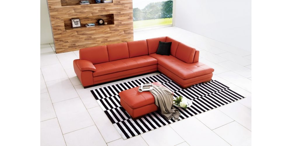 J&M Furniture 625 Italian Leather Sectional Pumpkin