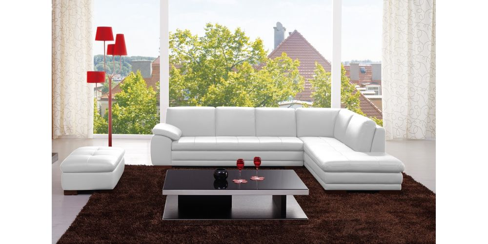 J&M Furniture 625 Italian Leather Sectional White