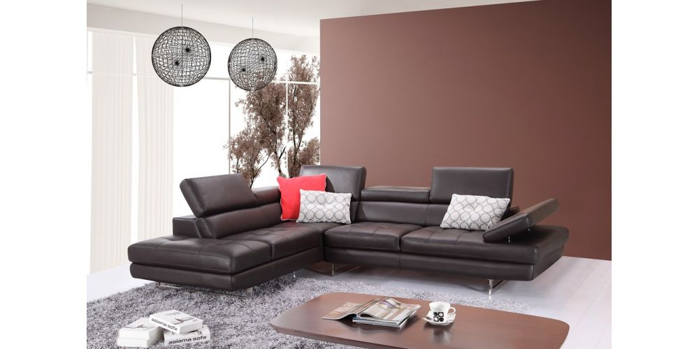 J&M Furniture A761 Italian Leather Sectional Coffee