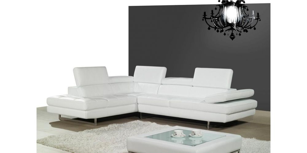 J&M Furniture A761 Italian Leather Sectional White