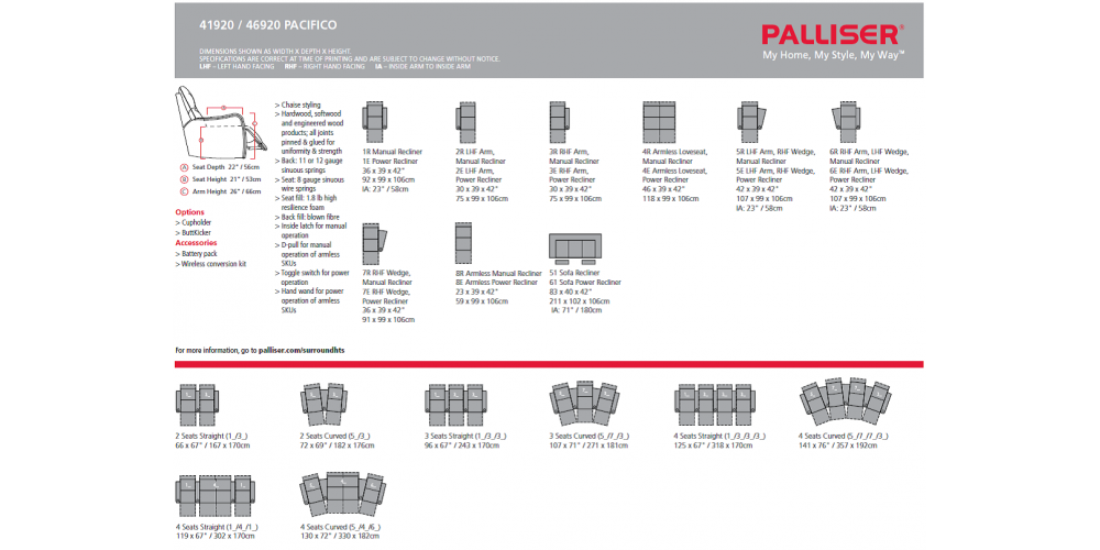 Palliser Pacifico Layouts