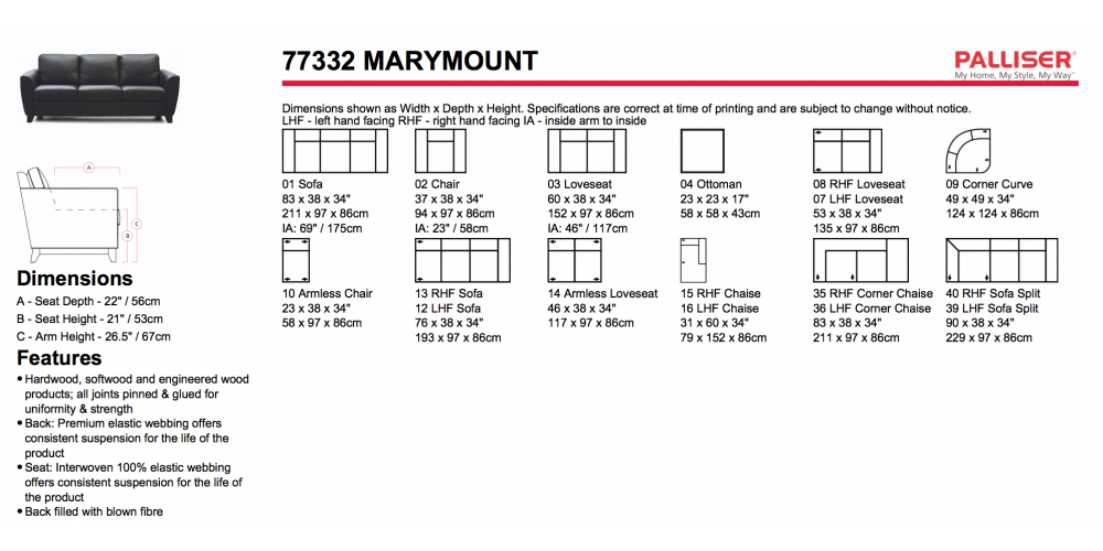 Palliser Marymount Sectional Layouts