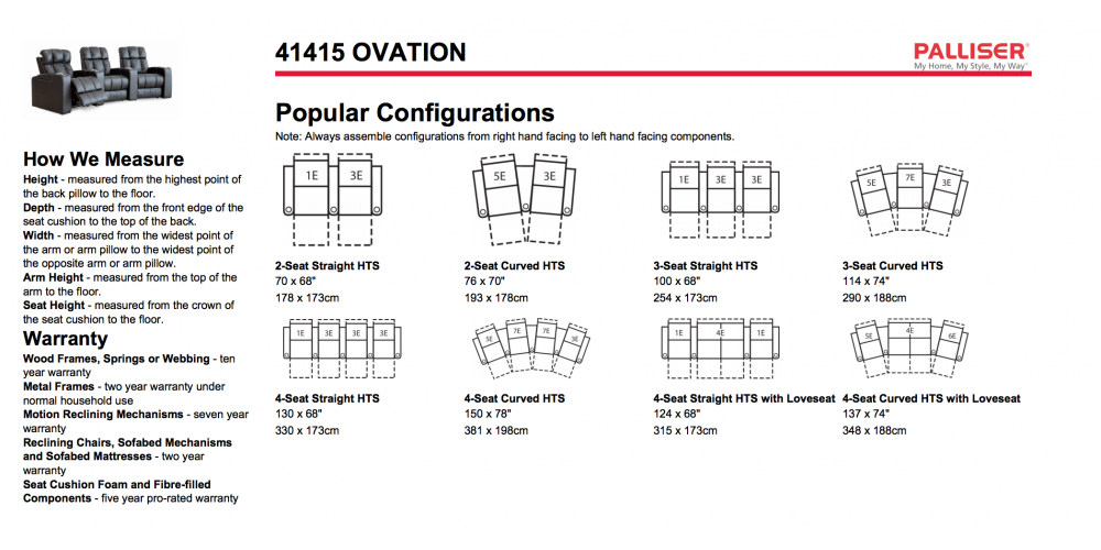 Palliser Ovation Layouts