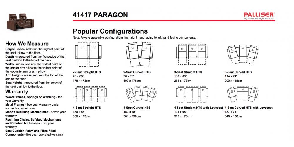 Palliser Paragon Layouts
