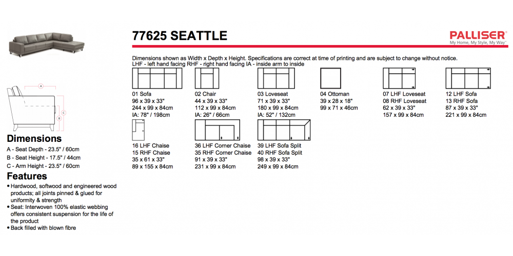 Palliser Seattle Sectional Layouts