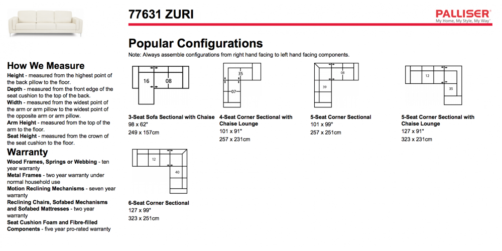 Palliser Zuri Sectional Layouts