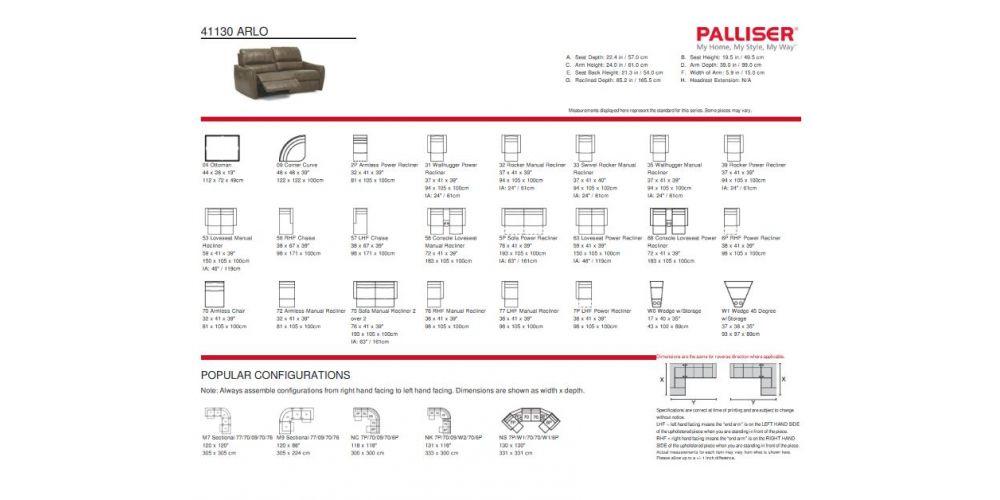 Palliser Arlo Reclining Sofa Specs