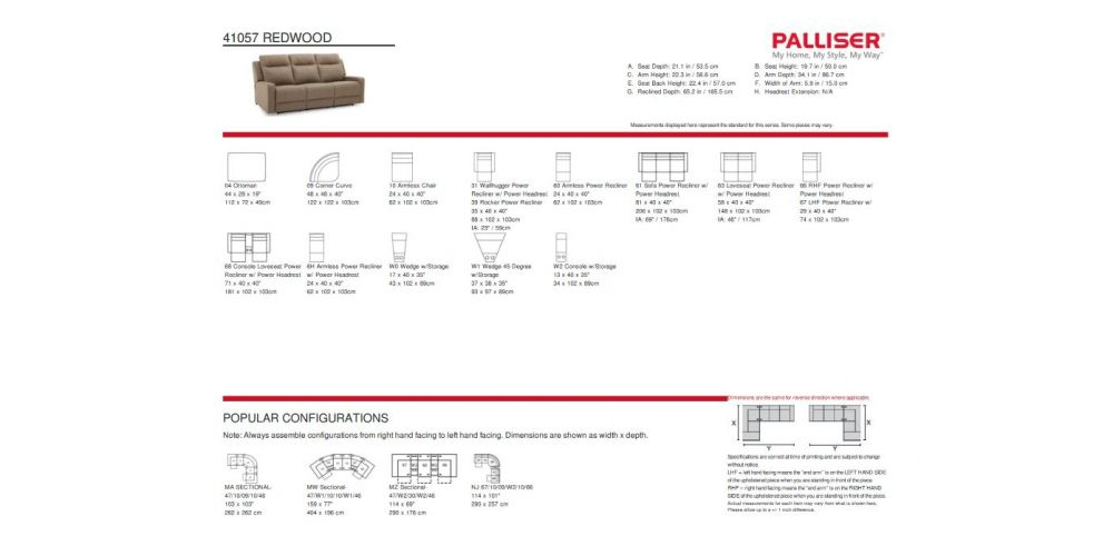 Palliser Redwood Leather Sectional Specs