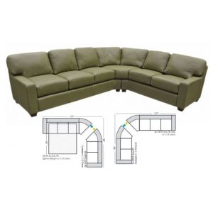 Omnia Leather Albany Curved Curved Sectional