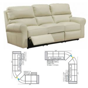 Omnia Leather Brookfield Drive Reclining Curved Sectional