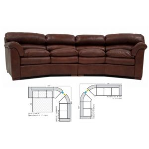 Omnia Leather Canyon Curved Curved Sectional