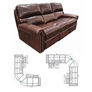 Omnia Leather Connor Reclining Curved Sectional