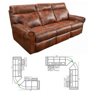 Omnia Leather Curtis Reclining Curved Sectional