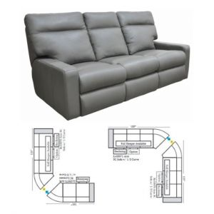 Omnia Leather Lyndsey Reclining Curved Sectional