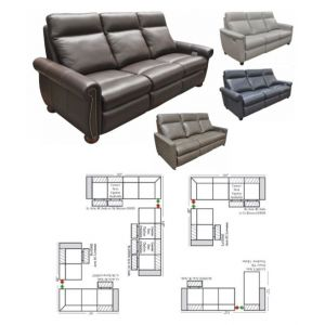 Omnia Leather Power Solutions Reclining L-Shape Sectional