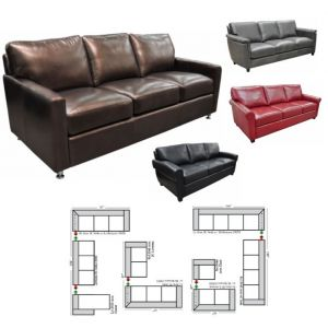 Omnia Leather Stationary Solutions Sectional