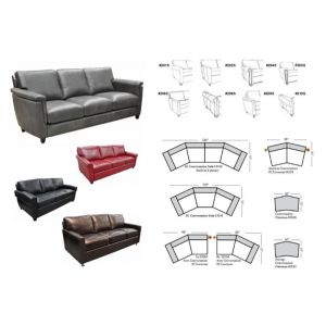 Omnia Leather Stationary Solutions Conversation Sofa
